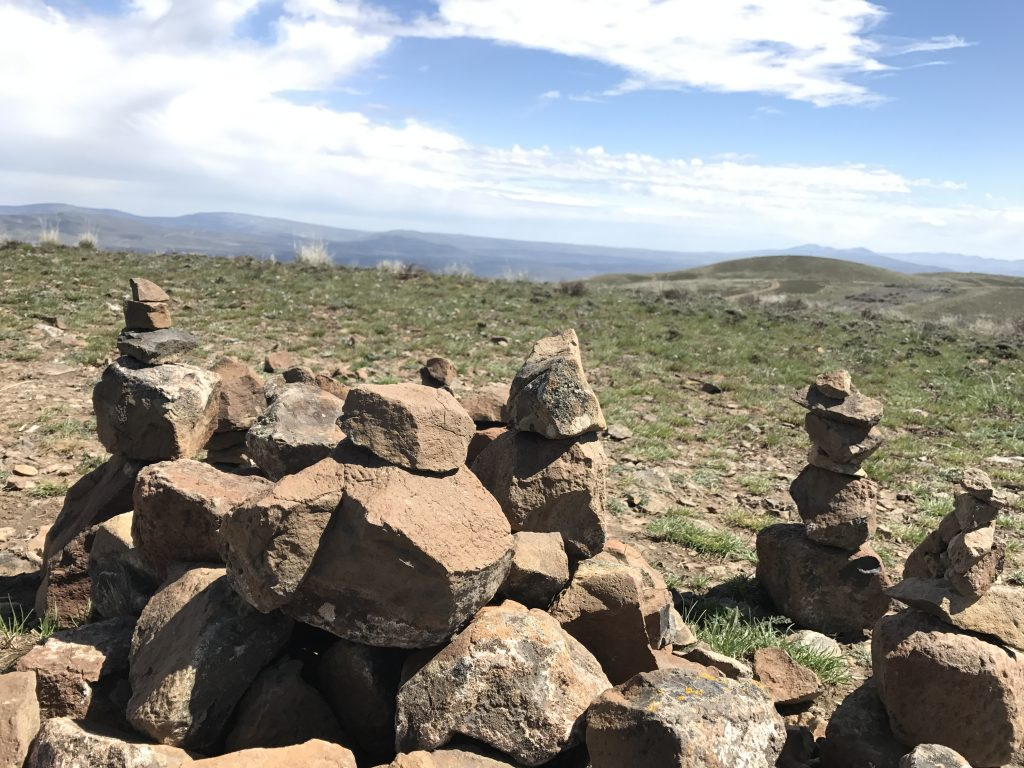 Stacked rocks at the end of the trail