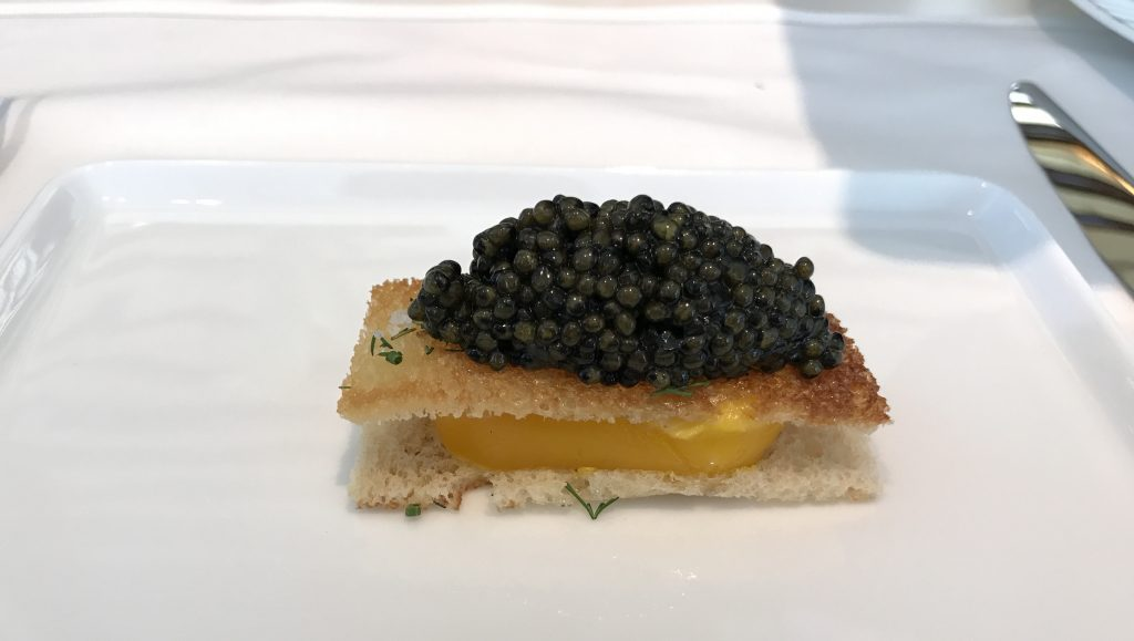 Caviar egg toast in the Waldorf Astoria Jean-Georges